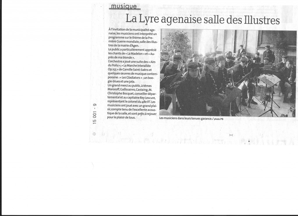 """Les musiciens de """"La Lyre Agenaise"""" salle des Illustres pour un concert aux personnes âgées"""