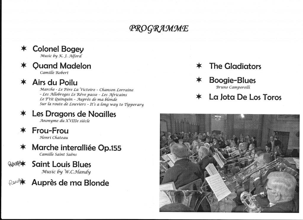 PROGRAMME  Titres et détails des morceaux du Concert