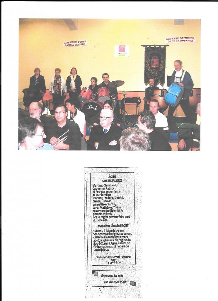 Concert donné à La Rotonde du Stadium lors du 120ème anniversaire de Lyre, Claude Faget , en haut, à droite tient la grosse caisse le 23.11.2006.
