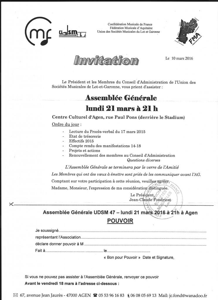 Invitation à l'Assemblée Générale de l'UDSM 47,le lundi 21 mars 2016, à 21 h