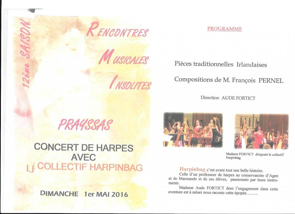 Rencontres Musicales Insolites avec le COLLECTIF HARPINBAG - Concert de Harpes à PRAYSSAS