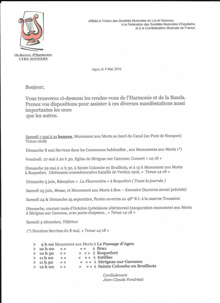 Programme des Services Lyre Banda a/c du 7 mai 2016