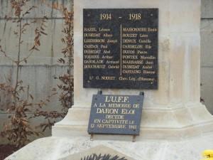 """La liste des """"Morts pour la France"""" sur le monument aux Morts de la Commune de Sérignac sur Garonne"""