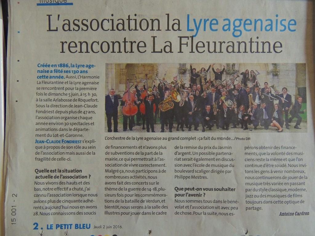 """article du Petit Bleu demandé par Jean-Claude Fondriest, rappelant la situation de la Lyre à loccasion de cette """"Rencontre entre Harmonies"""""""