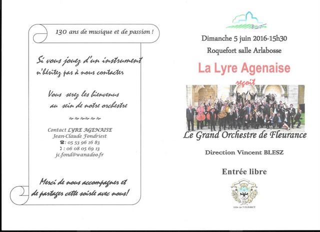 Invitation au concert à Roquefort dimanche 5 juin 2016 à 15 h 30