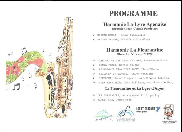 Programme du concert donné par La Lyre Agenaise et l'Harmonie La Fleurantine, de Fleurance(Gers)