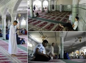 Des vues de l'intérieur de la mosquée d'Agen
