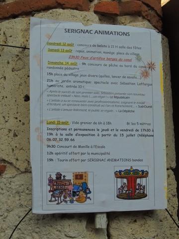 """Sous l'égide de """"Sérignac Animations"""" j'ai remarqué le programme des journées des Fêtes de Sérignac"""