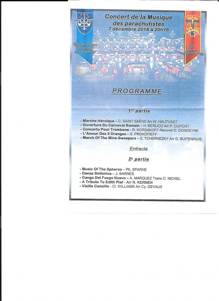 Programme du concert au théâtre d'Agen, sous l'égide de la Délégation militaire de Lot et Garonne et du 48° régiment de Transmission cantonné à Agen
