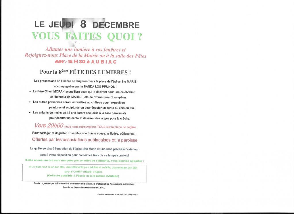 L'annonce de la 8ème Fête des Lumières à Aubiac par le blog de la paroisse sainte Bernadette