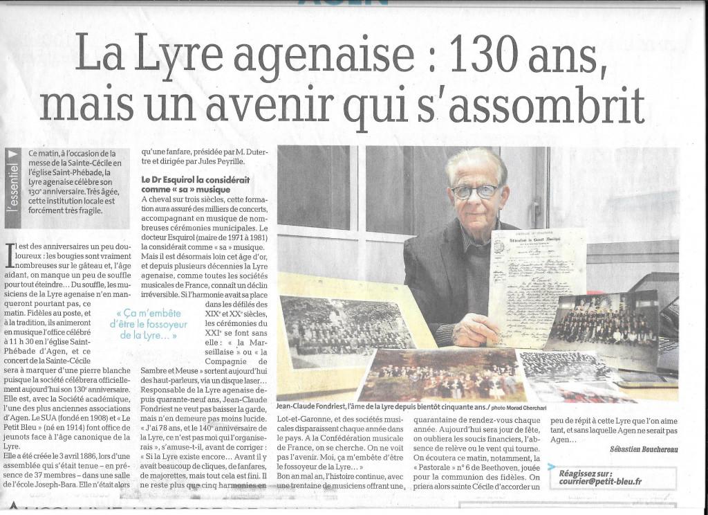L'article sur La Lyre Agenaise ,paru sur le Petit Bleu dimanche 11 décembre 2016, signé Sébastien Bouchereau.