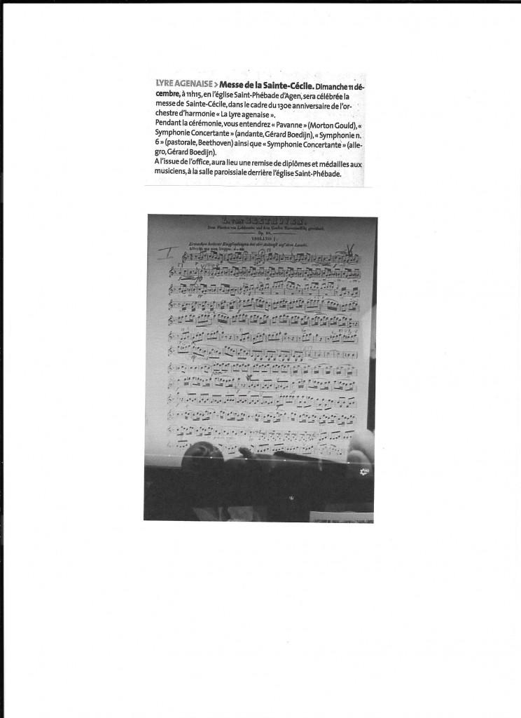 L'annonce concernant la messe de la sainte Cécile suivi de la partition de 1er violon de la symphonie n° 6   de L.V. Beethoven