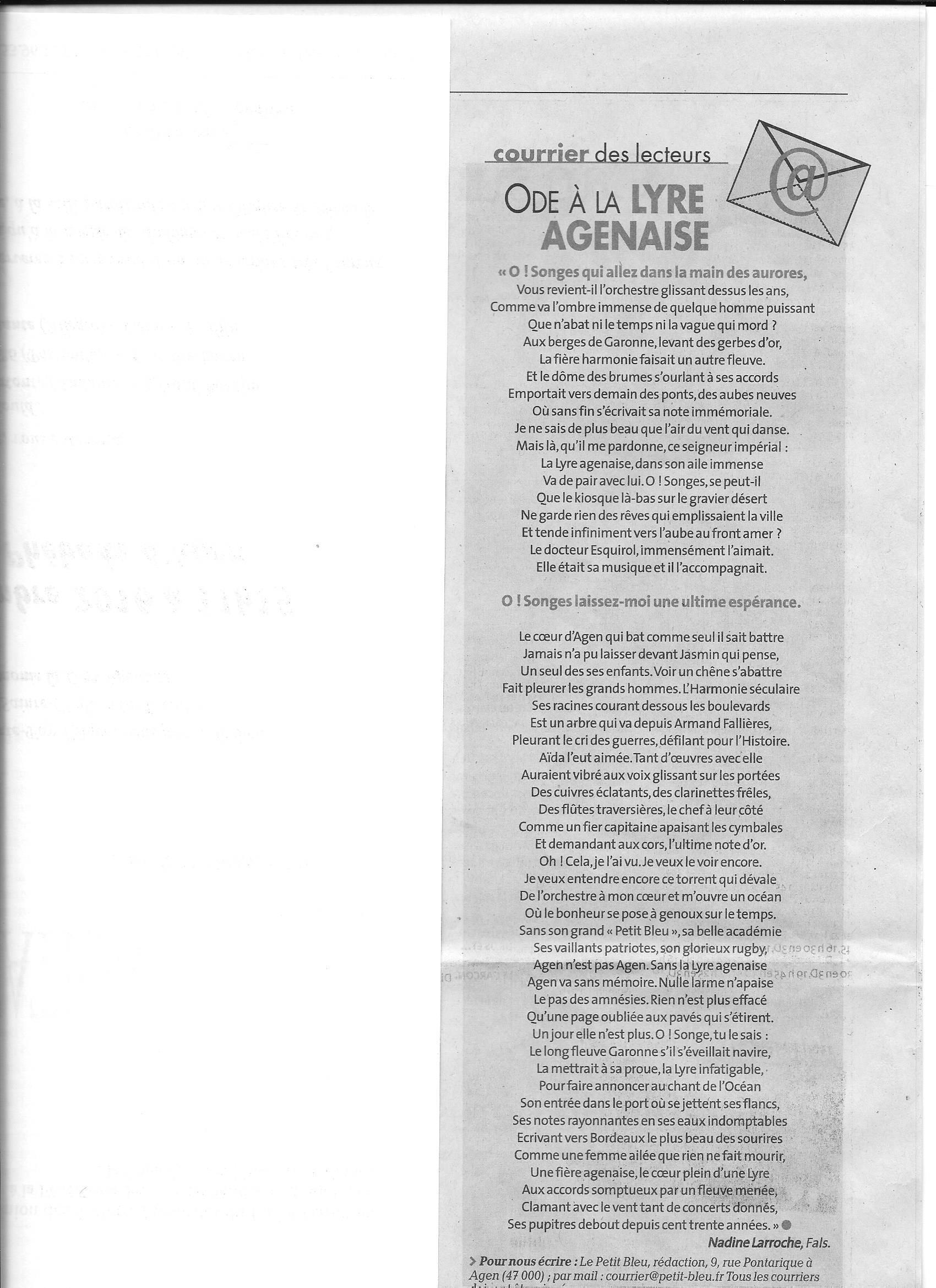 Le poème écrit par Nadine Larroche de Fals(47)