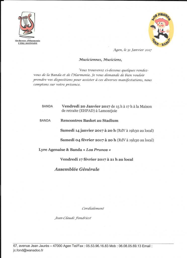 Programme Lyre-Banda pour janvier-février 2017 avec mention de l'Assemblée Générale le 17 février 2017