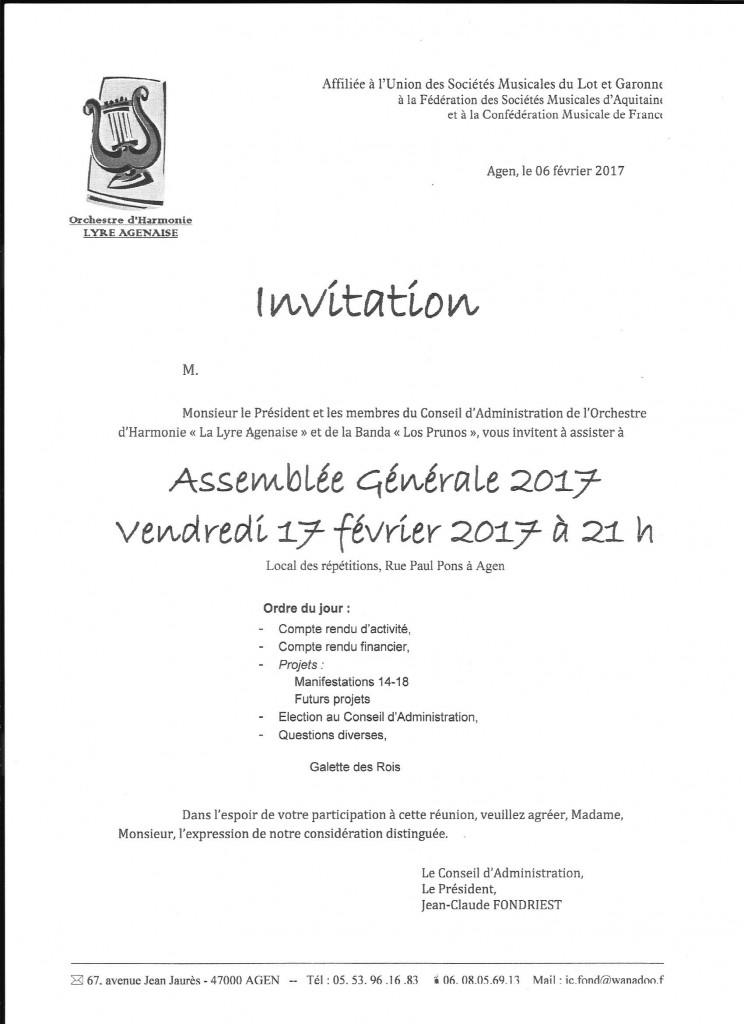 Invitation à l'Assemblée Générale 2017 vendredi 17 février 2017 à 21 h