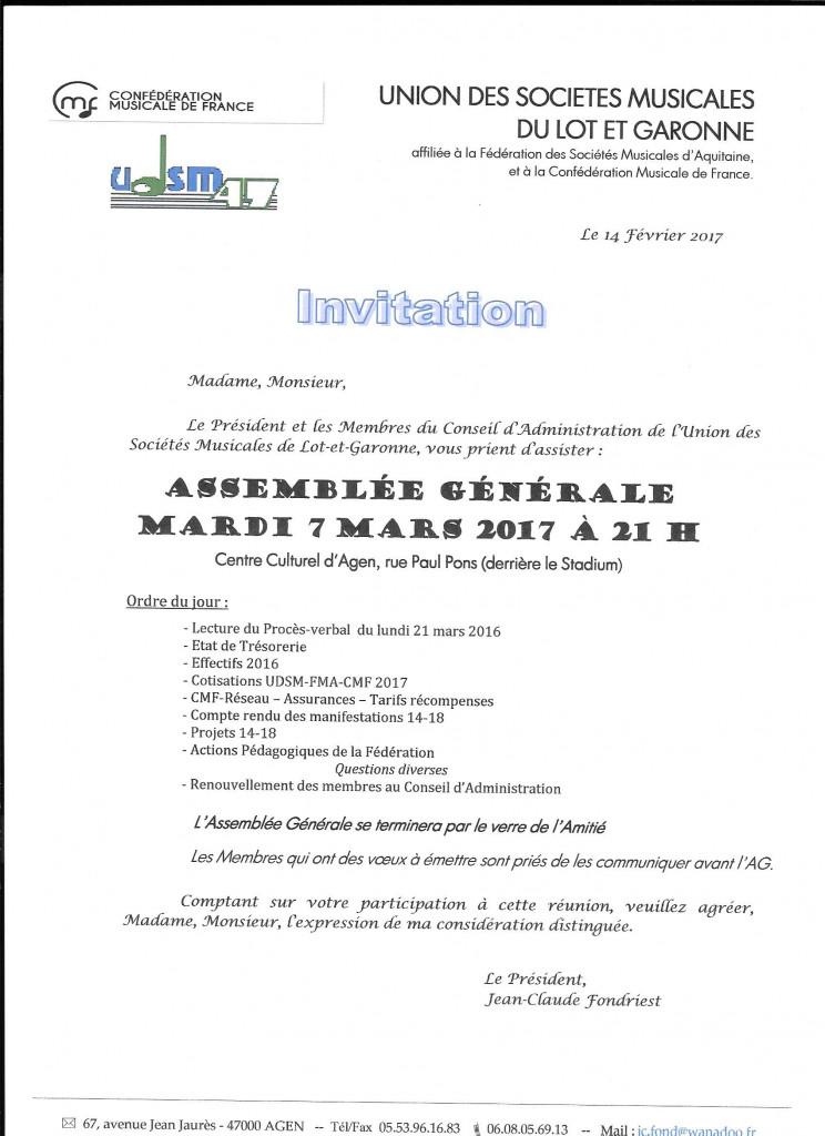 Invitation et Ordre du Jour de cette convocation à l'A.G. de l'UDSM 47 du 7.03.2017