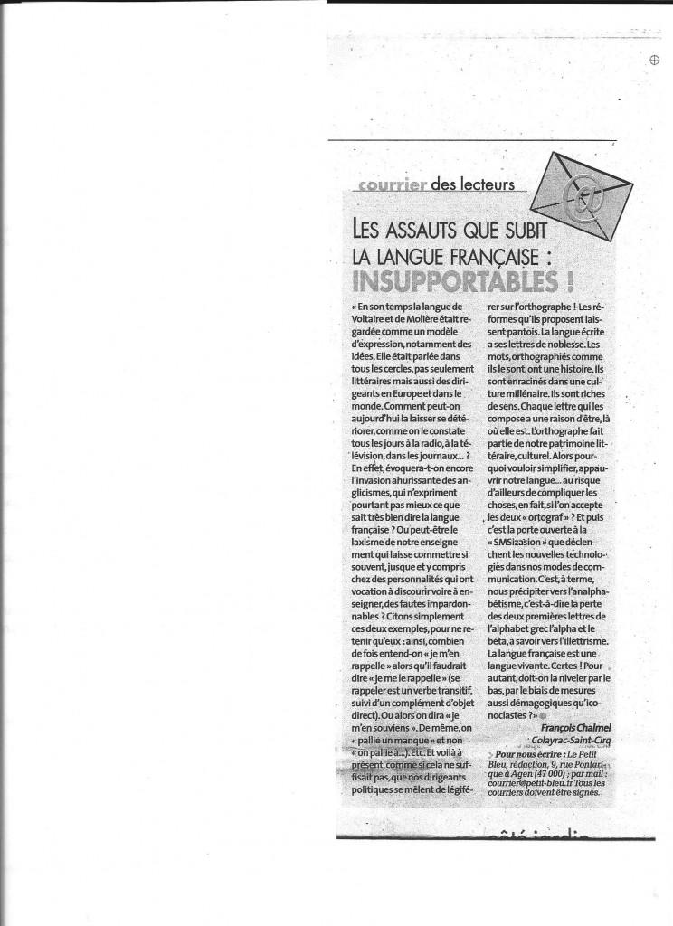 L'article en question paru dans le Petit Bleu du 6 mars 2016