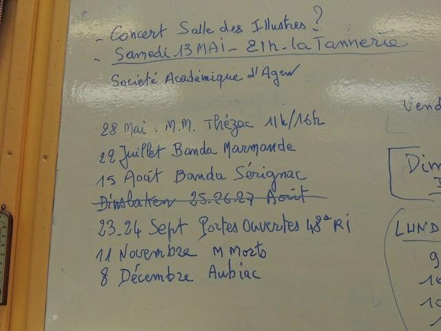 Une partie du tableau qui concerne les autres dates jusqu'au 8 décembre à Aubiac