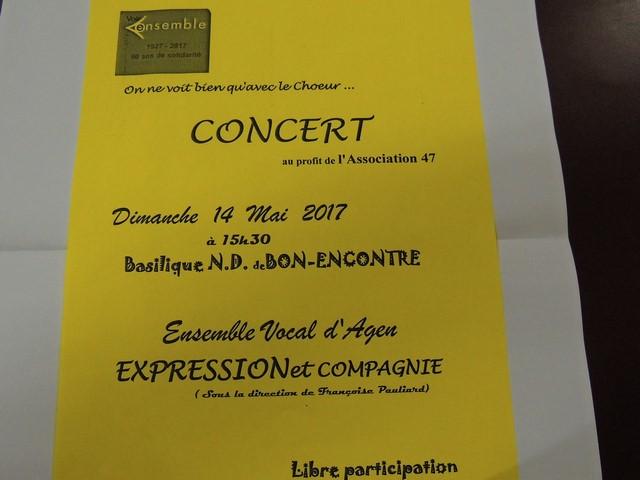 Affiche du concert donné le 14 Mai 2017 à 15 h 30 en la Basilique Notre-Dame à Bon Encontre par l'Ensemble   Choral d'Agen EXPRESSION