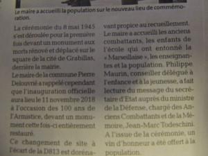 Une partie de l'article concernant ce monument au morts déplacé.