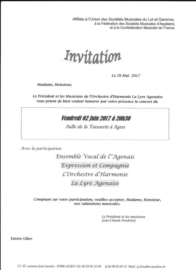 Invitation le Vendredi 02 juin 2017 à 20 h 30 à la Salle de la Tannerie à Agen