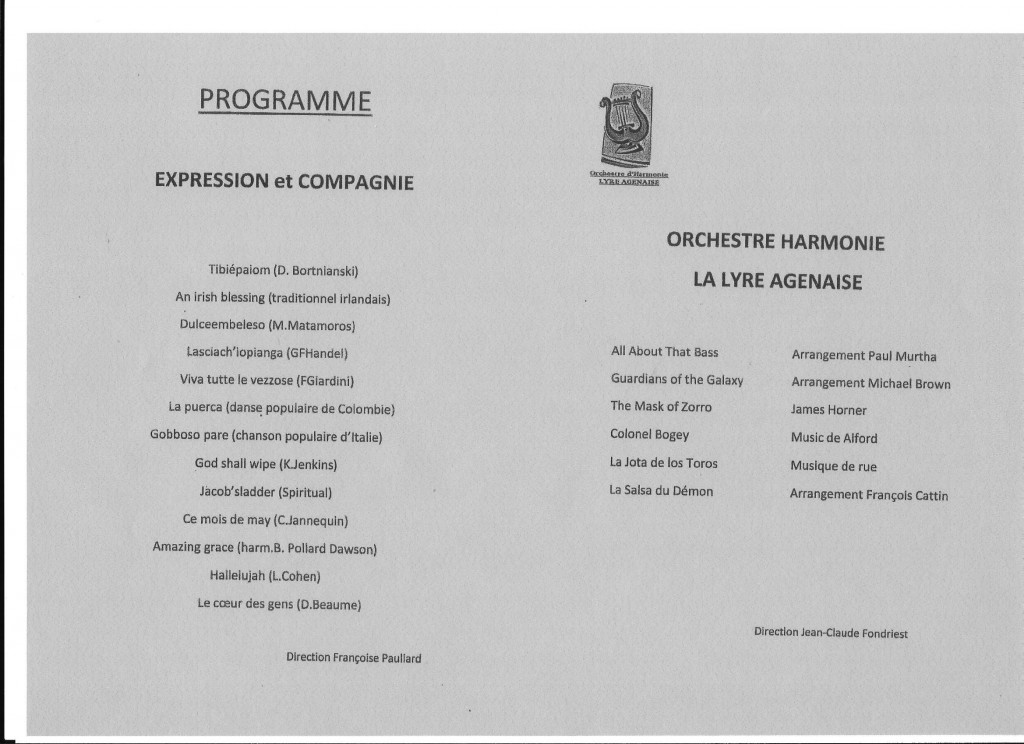 PROGRAMME  Expression et Compagnie et Orchestre Harmonie La Lyre Agenaise