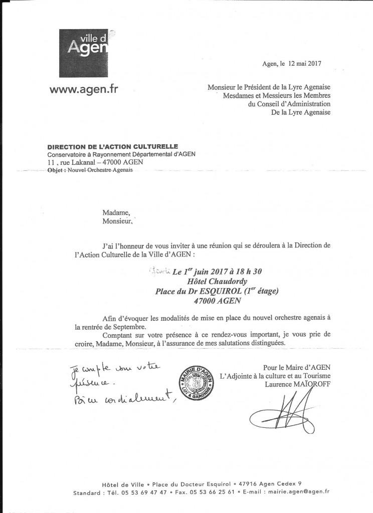 Réunion afin d'évoquer les modalités de mise en place  du nouvel orchestre agenais en Septembre 2017