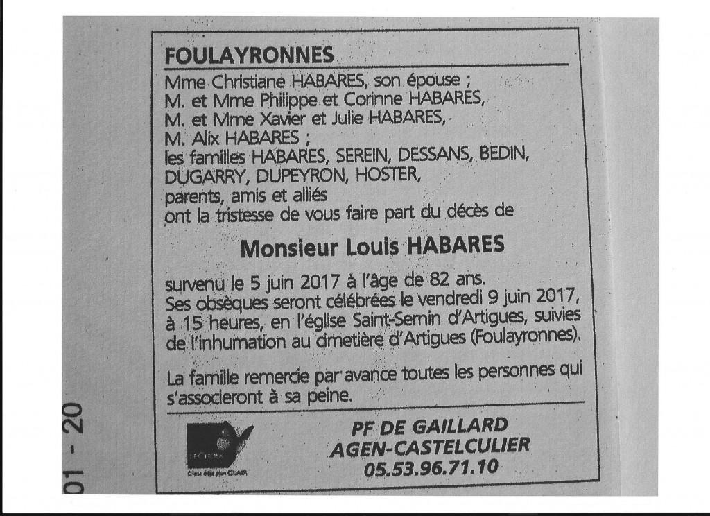Avis de décès de Louis HABARES, le 5 juin 2017 (le Lundi de Pentecôte); il avait 82 ans.