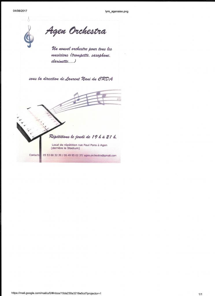 L'affiche Agen Orchestra - Un nouvel orchestre pour tous les musiciens.... sous la direction de Laurent Nani du CRDA