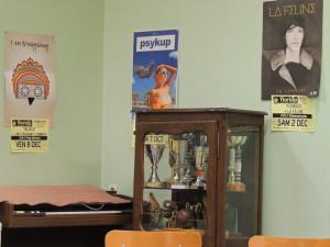 Les affiches donc et la petite vitrine contenant les trophées de la LYRE
