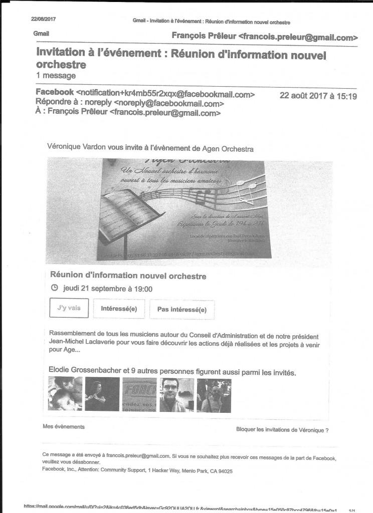 Copie de ce mail : invitation à l'événement adressé à moi-même François Prêleur par Véronique Vardon