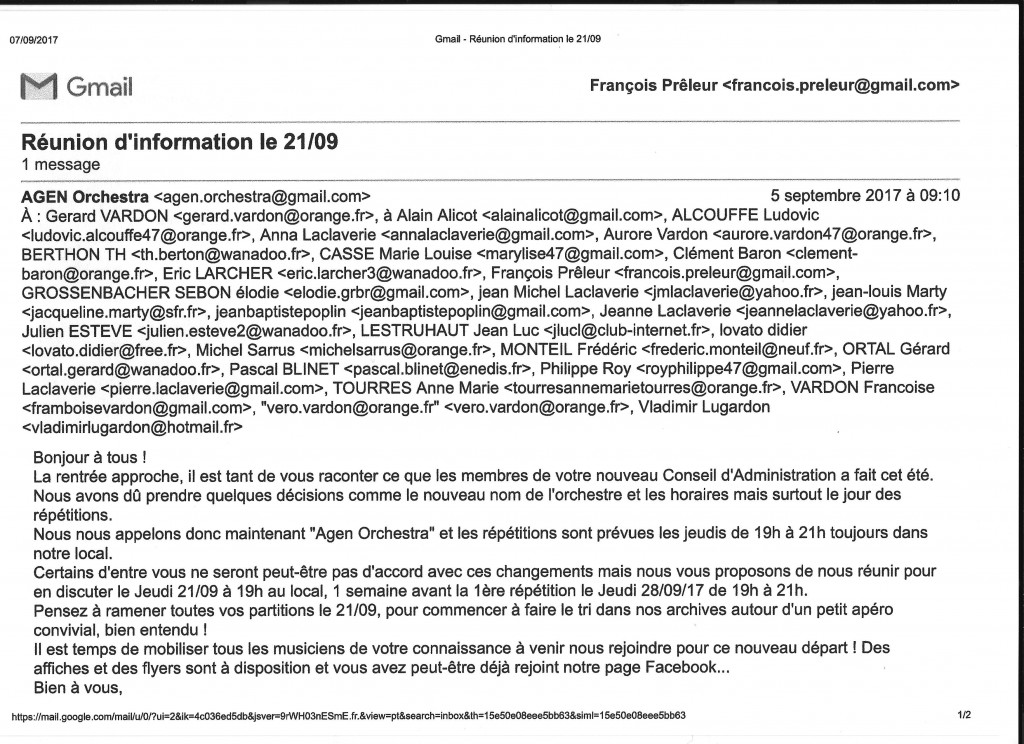 Mail: Réunion d'information le 21.09 envoyé à tous les musiciennes et musiciens de la Lyre