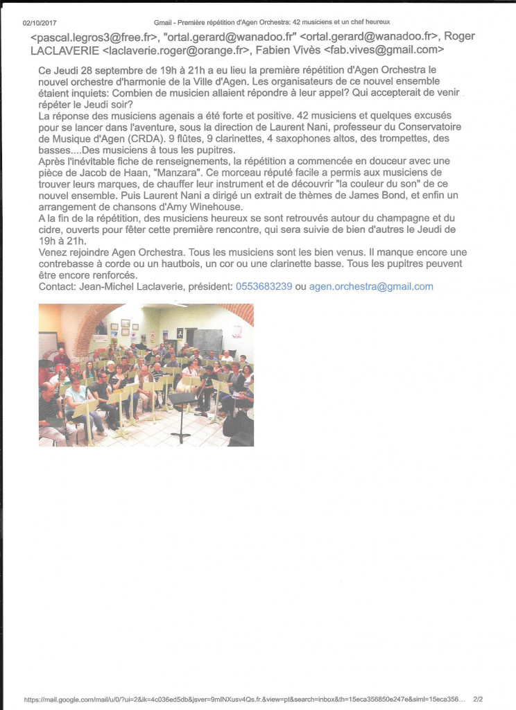 titre du mail- Première répétition d'Agen Orchestra: 42 musiciens et un chef heureux