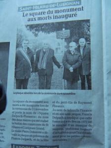 A St Hilaire de Lusignan  le square inauguré après la cérémonie du 11 novembre