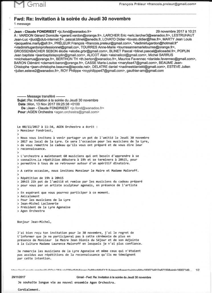 """C'est """"texto"""" la teneur des deux messages déjà écrit par Agen Orchestra et M Fondriest en réponse avec sa signature : Jean-Claude Fondriest."""