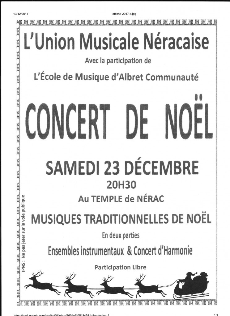 Concert de Noël au Temple de Nérac