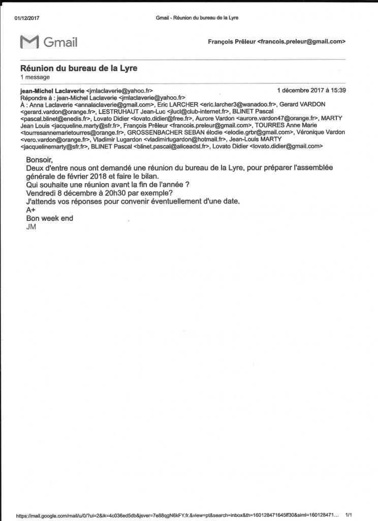 La liste des membres du bureau et le texte de Jean-Michel