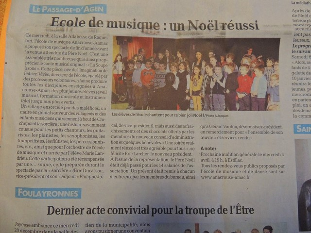 Salle Arlabosse à Roquefort Noël réussi pour l'école de musique Anacrouse-Aamac