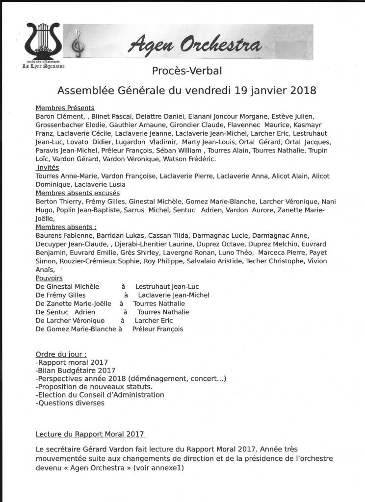 Procès-Verbal Assemblée Générale du vendredi 19 janvier 2018, page 1