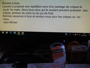Bonsoir à tous, dixit Jean-Michel, suivi de son petit message