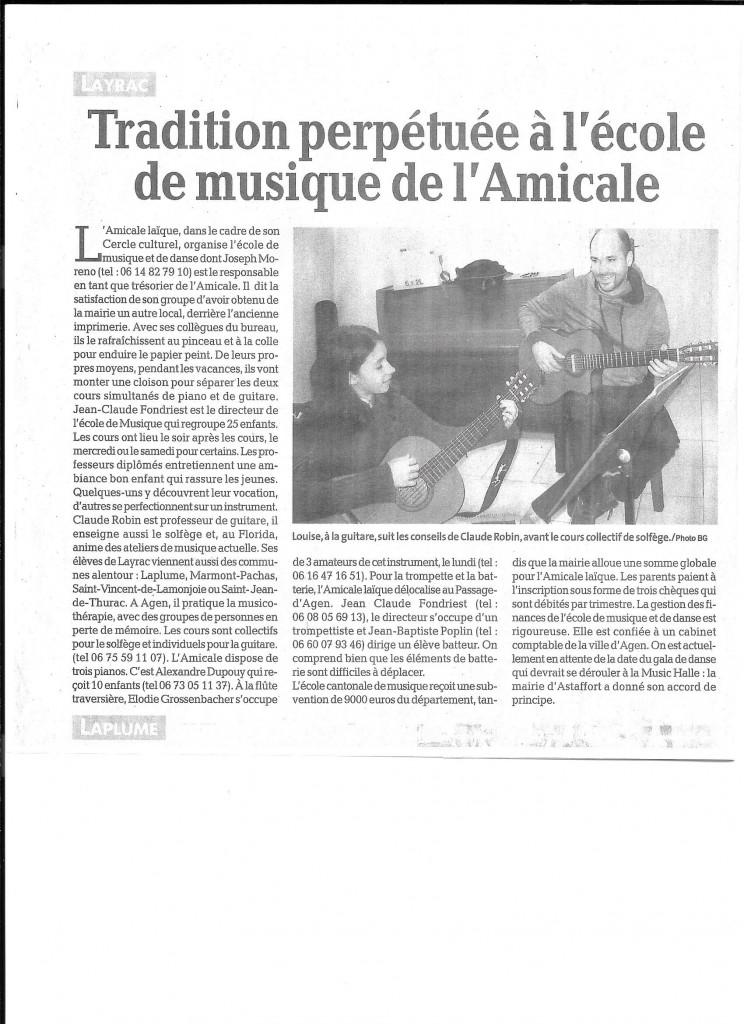 L'Ecole de musique de l'Amicale Laïque de Layrac  est bien organisée.