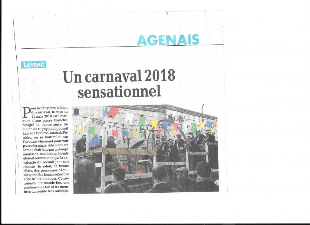Un carnaval 2018 sensationnel titre le journal : il n'y a rien à ajouter!