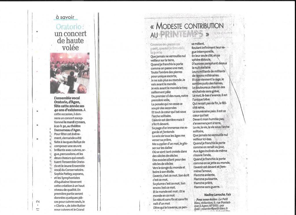 Concert ensemble vocal Oratorio - Printemps Texte écrit par Nadine Larroche
