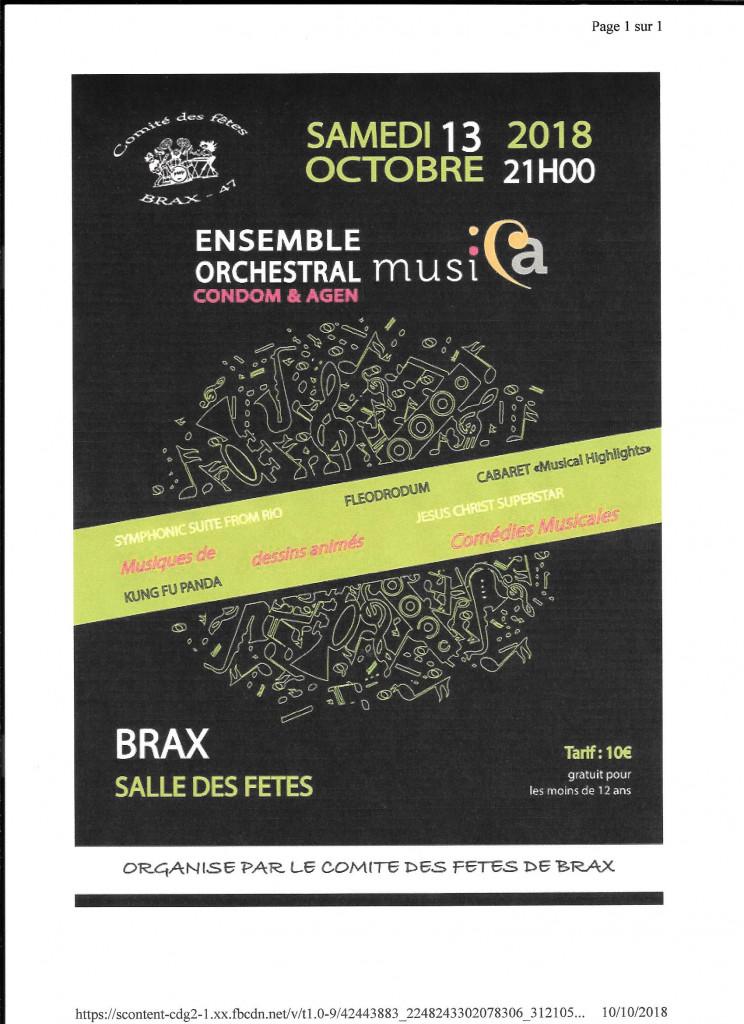 Affiche du concert à Brax par Musica le samedi 13 octobre 2018 à 21H00