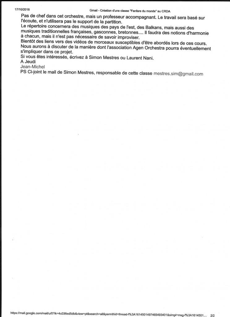 """Création d'une classe  """"Fanfare du monde"""" mail du 16.10.2018, page 2"""