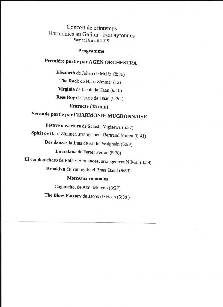 Concert de Printemps Harmonies au Galion-Foulayronnes samedi 6 avril 2019