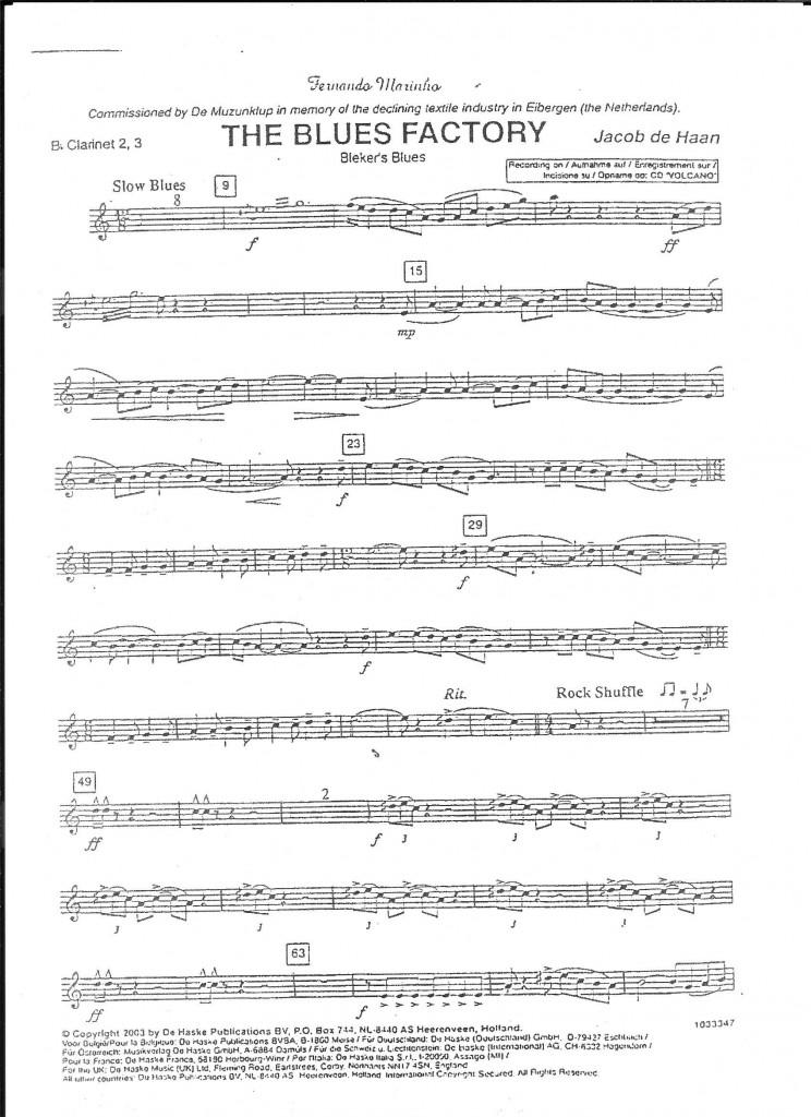 """Une première page de la partition de Clarinette -2 de """"The Blues Factory, qui terminait le concert en commun"""